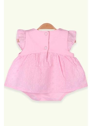 Breeze Kız Bebek Zıbın Elbise Çiçekli Pudra (6 Ay-2 Yaş) Pudra